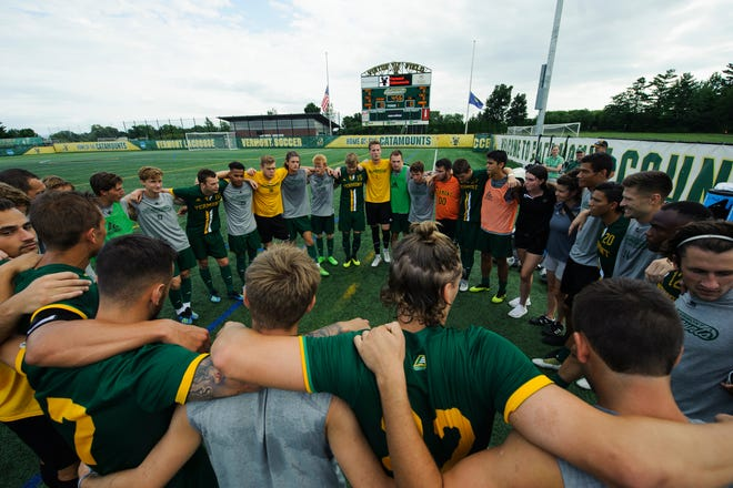Vermont huddles together during the men's soccer game between the LIU Brooklyn Blackbirds and the Vermont Catamounts at Virtue Field on Sunday afternoon September 2, 2018 in Burlington.