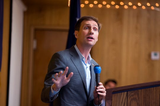 Justin Nelson, Democratic candidate for Texas Attorney General, speaks at the 61st annual Labor Day Breakfast hosted by the Coastal Bend Central Labor Council on Monday, September 3, 2018. The standing-room only event included candidates from across the city, county and state and included contributions made by members of labor unions in helping the area recover from Hurricane Harvey.f