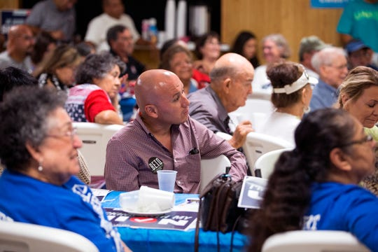 Attendees at the 61st annual Labor Day Breakfast hosted by the Coastal Bend Central Labor Council listen to comments during the event on Monday, September 3, 2018. The standing-room only event included candidates from across the city, county and state and included contributions made by members of labor unions in helping the area recover from Hurricane Harvey.