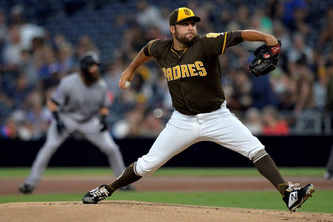 Aug 31, 2018; San Diego, CA, USA; San Diego Padres relief pitcher Brett Kennedy (60) pitches during the first inning against the Colorado Rockies at Petco Park. Mandatory Credit: Jake Roth-USA TODAY Sports