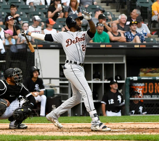 Detroit Tigers' Niko Goodrum hits a home run against the Chicago White Sox in the seventh inning at Guaranteed Rate Field, Monday, Sept. 3, 2018, in Chicago.