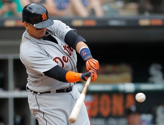 Victor Martinez hits a home run against the White Sox in the ninth inning Sept. 3 in Chicago