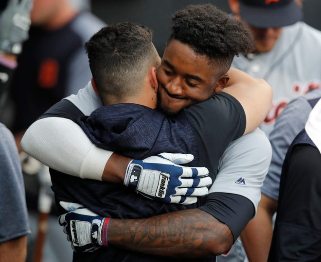 Niko Goodrum celebrates his home run against the White Sox in the seventh inning Monday in Chicago.