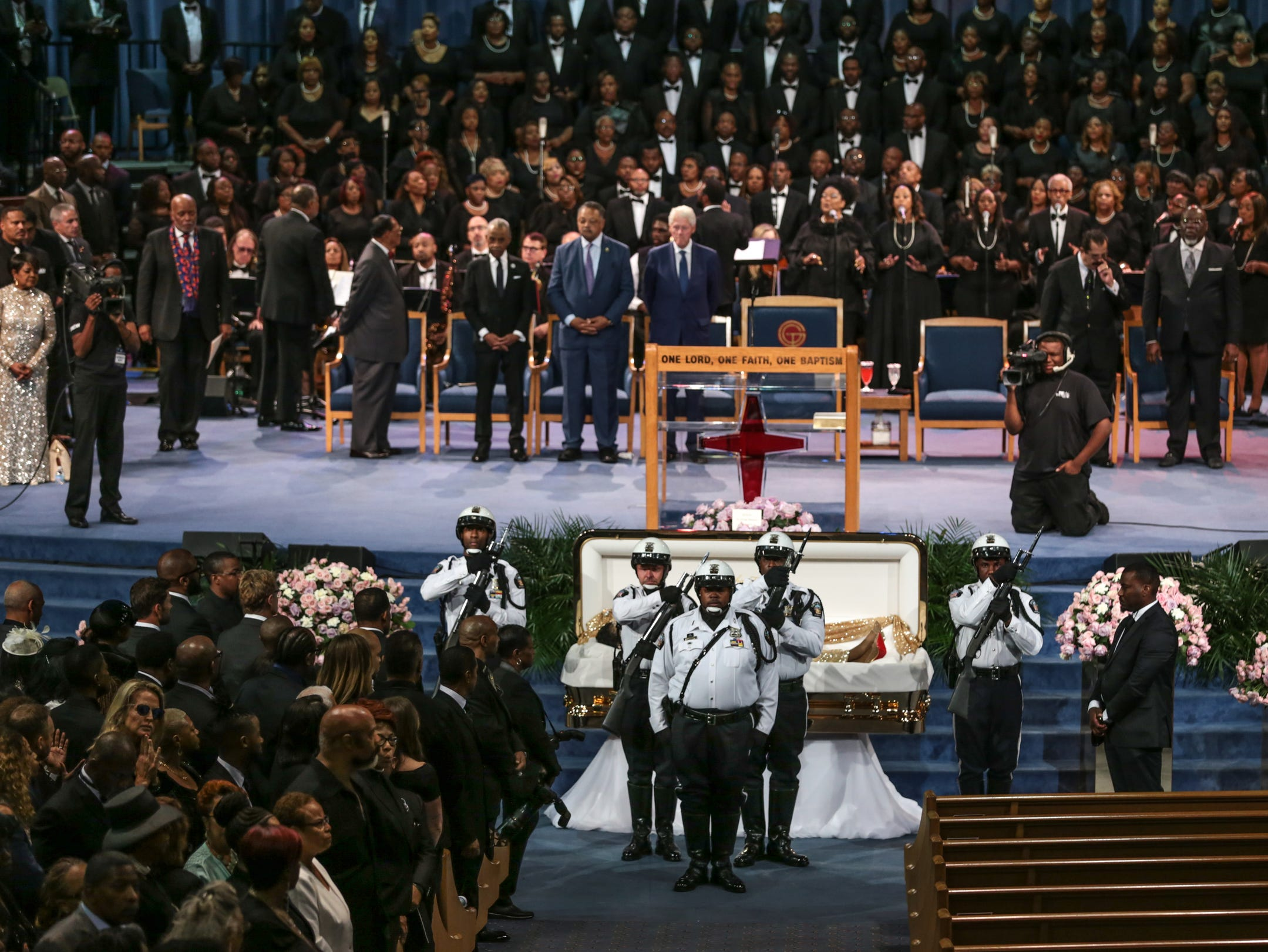 Police exit the funeral of the late Aretha Franklin after visiting her casket during her funeral at Greater Grace Temple in Detroit on Friday, August 31, 2018.