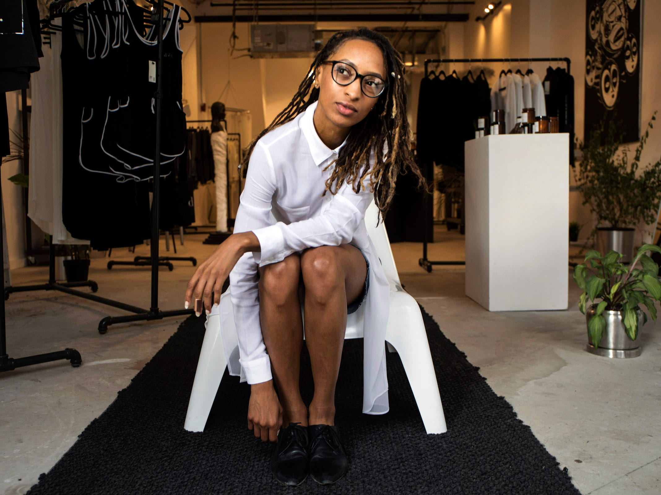 Roslyn Karamoko, 33, founder and CEO of the retail store, Detroit is the New Black, in Detroit on Wednesday, August 29, 2018.