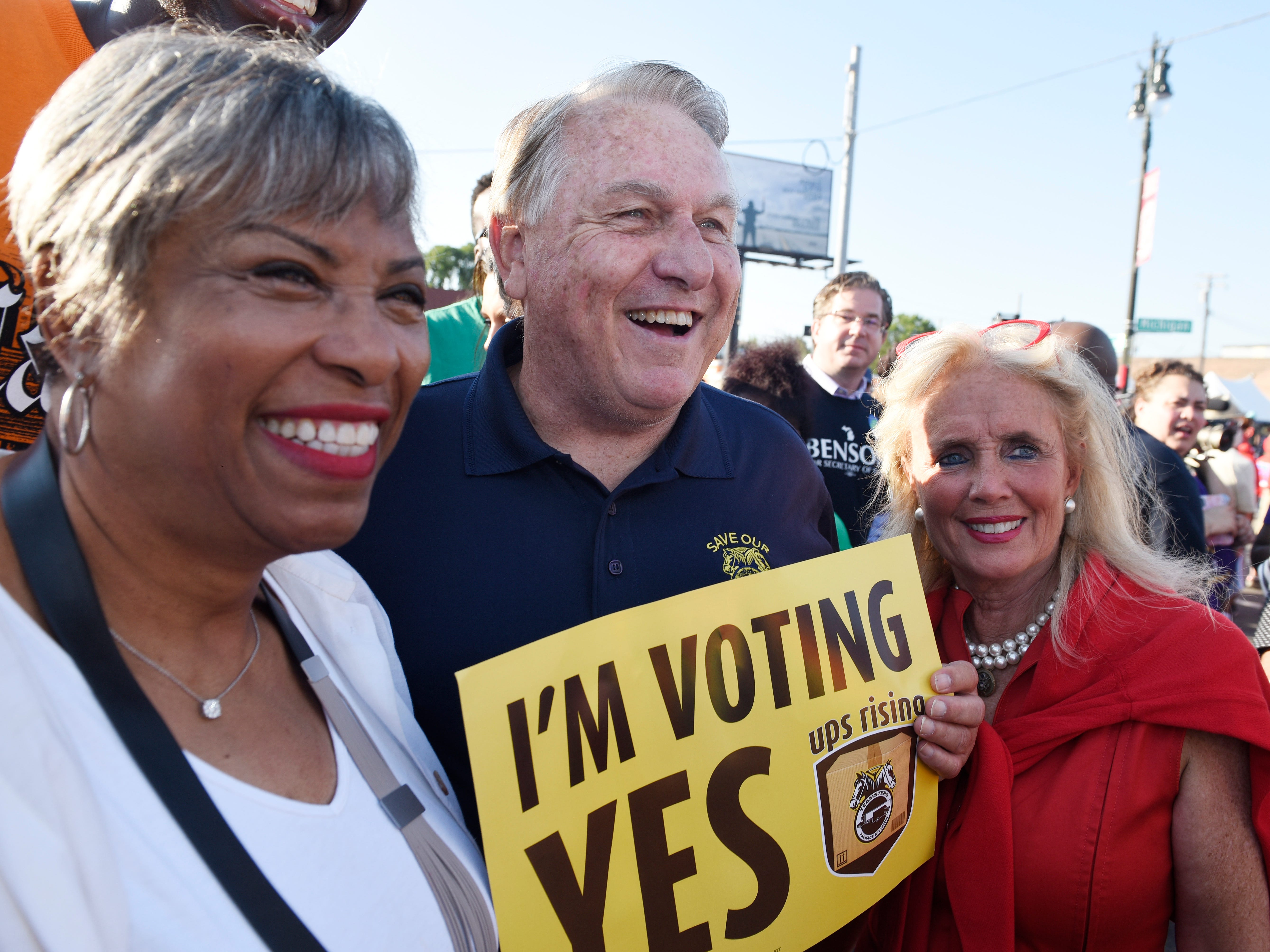 Congresswomen Brenda Lawrence, James P. Hoffa, General President of the International Brotherhood of Teamsters and Congresswoman Debbie Dingell pose for a photo.