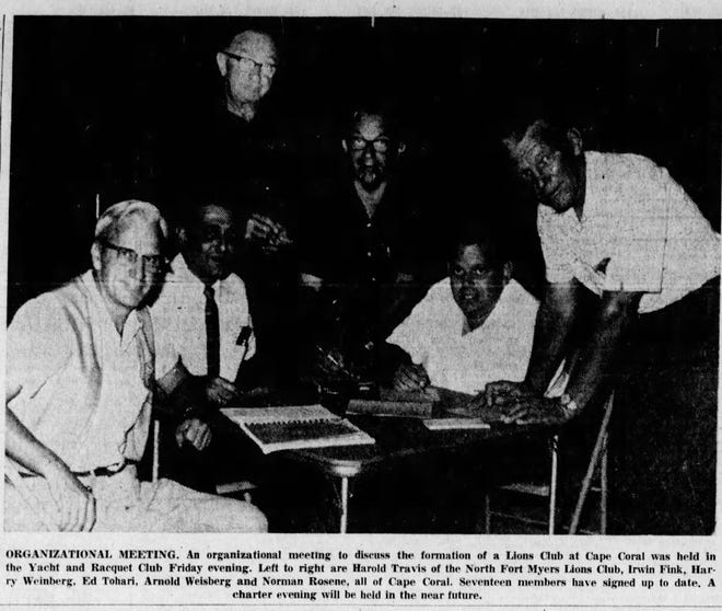 The organizational meeting of the Cape Coral Lions Club was featured in The News-Press on July 24, 1962.