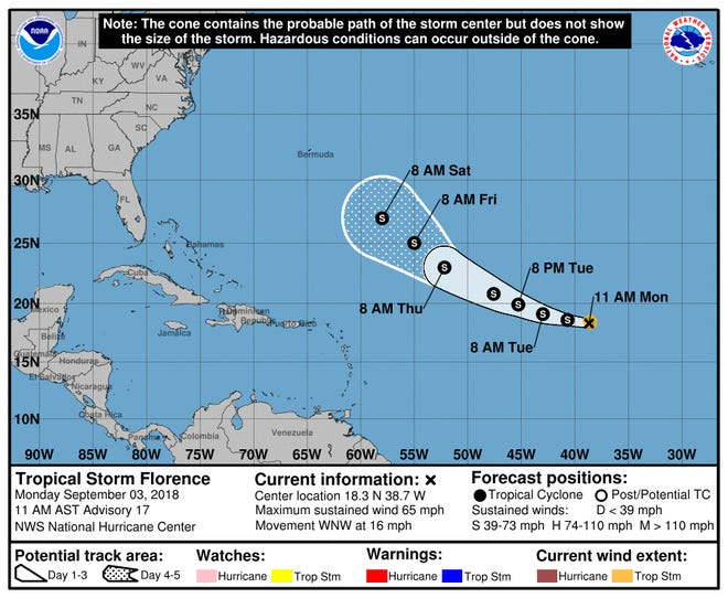11 a.m. Monday, Sept. 3, 2018, Tropical Storm Florence update.
