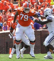 Clemson offensive lineman Jackson Carman (79) blocks against Furman during the third quarter in Memorial Stadium in Clemson on September 1.