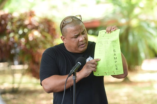 Andri Baynum from Guamanians for fair Government speaks at press conference, asking voters to write in Sen. Frank Aguon Jr. for governor during 2018 General Election.