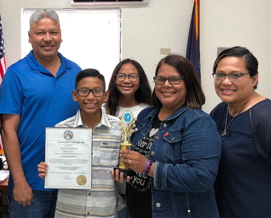 Harry S. Truman fifth grade student, Timothy Gumataotao received recognition for being the top student in room 2 for Mrs. Mendiolas class. Pictured from left: Oscar Gumataotao, Timothy Gumataotao, Kelsi Gumataotao, Verna Mendiola, Pauline Gumataotao.