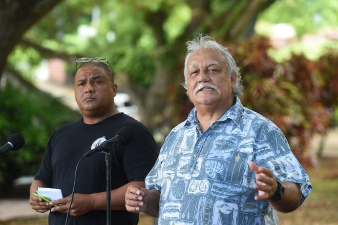 Andri Baynum from Guamanians for fair Government, left, and Ken Leon-Guerrero from Guam Citizens for Public Accountability speak at press conference, asking voters to write in Sen. Frank Aguon Jr. for governor in 2018 General Election.