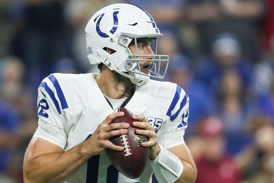 Indianapolis Colts quarterback Andrew Luck (12) looks for an open receiver in the first half of the Colts' preseason game against the Baltimore Ravens at Lucas Oil Stadium in Indianapolis, Monday, Aug. 20, 2018.