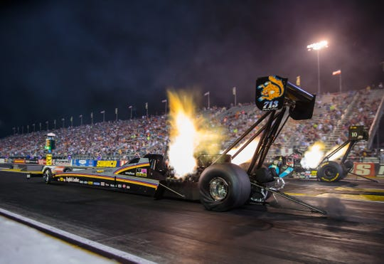Aug 31, 2018;  NHRA top fuel driver Mike Salinas launches off the starting line during qualifying for the US Nationals at Lucas Oil Raceway.