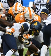 Tennessee defensive lineman Alexis Johnson (98) during  action against the West Virginia Mountaineers in the Belk College Kickoff game in Charlotte, NC Sunday, September 2, 2018.