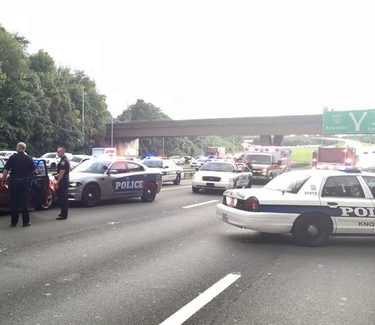 The scene at the I-40 and I-640 interchange caused traffic the Sunday before Labor Day.