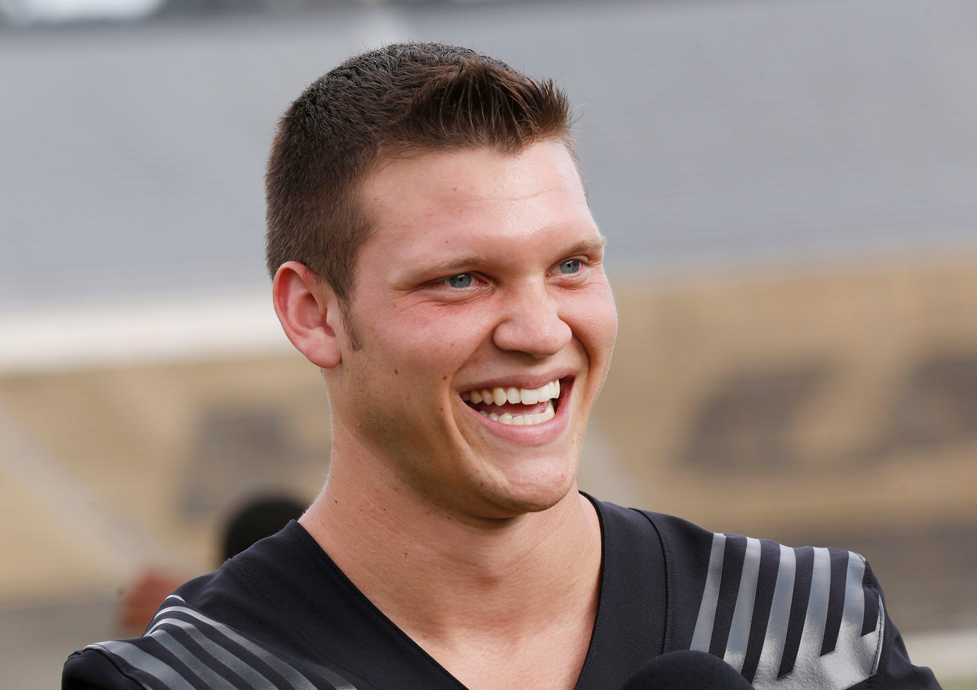 Quarterback Elijah Sindelar has a laugh as he meets with members of the media during Purdue football media day Friday, August 3, 2018, at Ross-Ade Stadium.