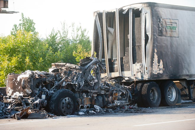 A truck hauling bourbon barrels struck a disabled car on the eastbound lane of I-265 between Bells Lane and Cane Run Road, ruptured a fuel tank and caught fire. The fire demolished the truck but most of the untaxed alcohol in the trailer was undamaged.September 02, 2018