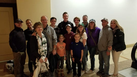 Michigan State quarterback David Lewerke, center, poses with members of his immediate and extended family at last December's Holiday Bowl in San Diego.