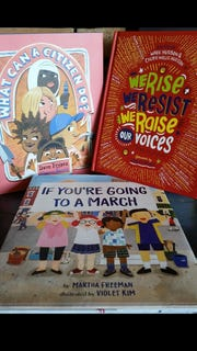 """What Can a Citizen Do?"" by Dave Eggers, illustrated by Shawn Harris; ""If You're Going to a March"" by Martha Freeman, illustrated by Violet Kim; and ""We Rise, We Resist, We Raise Our Voices,"" edited by Wade Hudson and Cheryl Willis Hudson, foreword by Ashley Bryan."