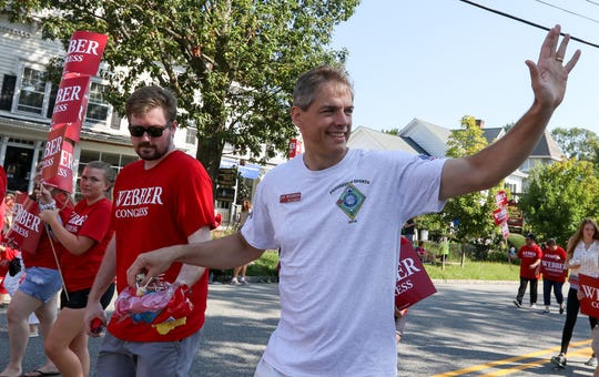 Congress candidate Jay Webber waves during the Mendham Labor Day Parade on September 3, 2018.