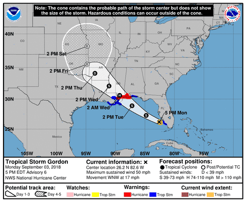 Tropical Storm Gordon - 5pm, Sept 3