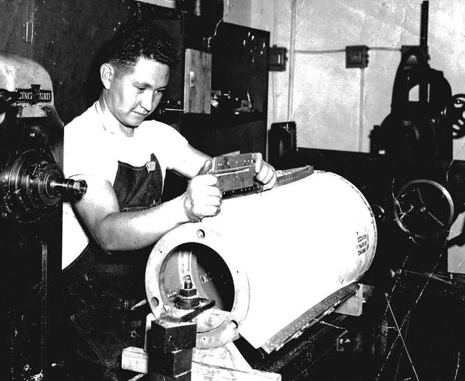 Placido Trujillo works in the machine shop at White Sands early in his career. He'll be inducted into the White Sands Missile Range Hall of Fame in September 2018.