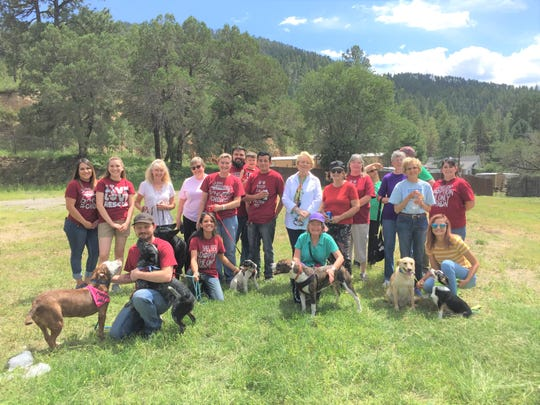 Ruidoso Animal Shelter volunteers and staff at ground breaking ceremoy for new shelter that will be on Highway 70.