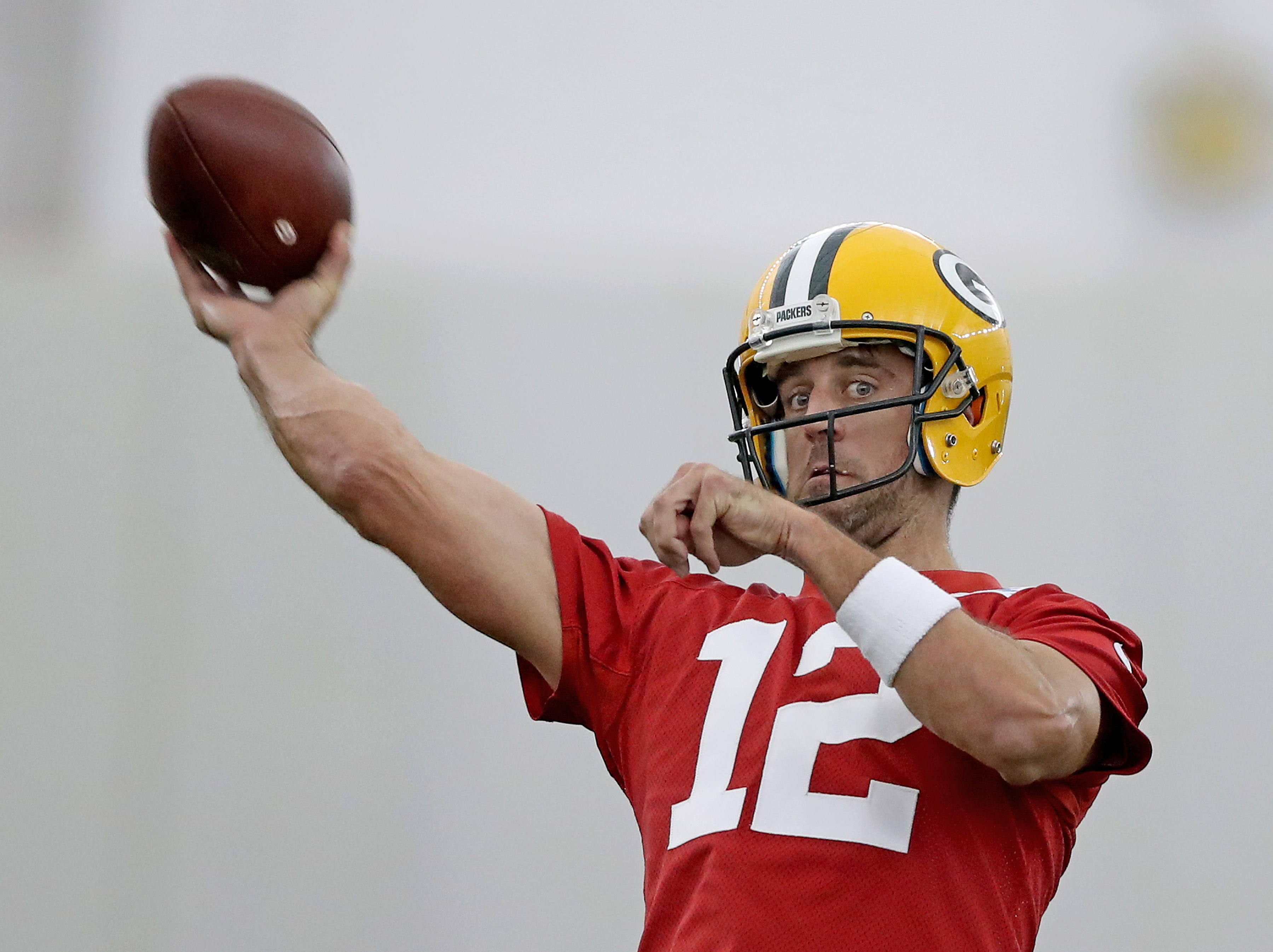 Green Bay Packers quarterback Aaron Rodgers (12) during Packers practice in the Don Hutson Center Monday, September 3, 2018 in Ashwaubenon, Wis