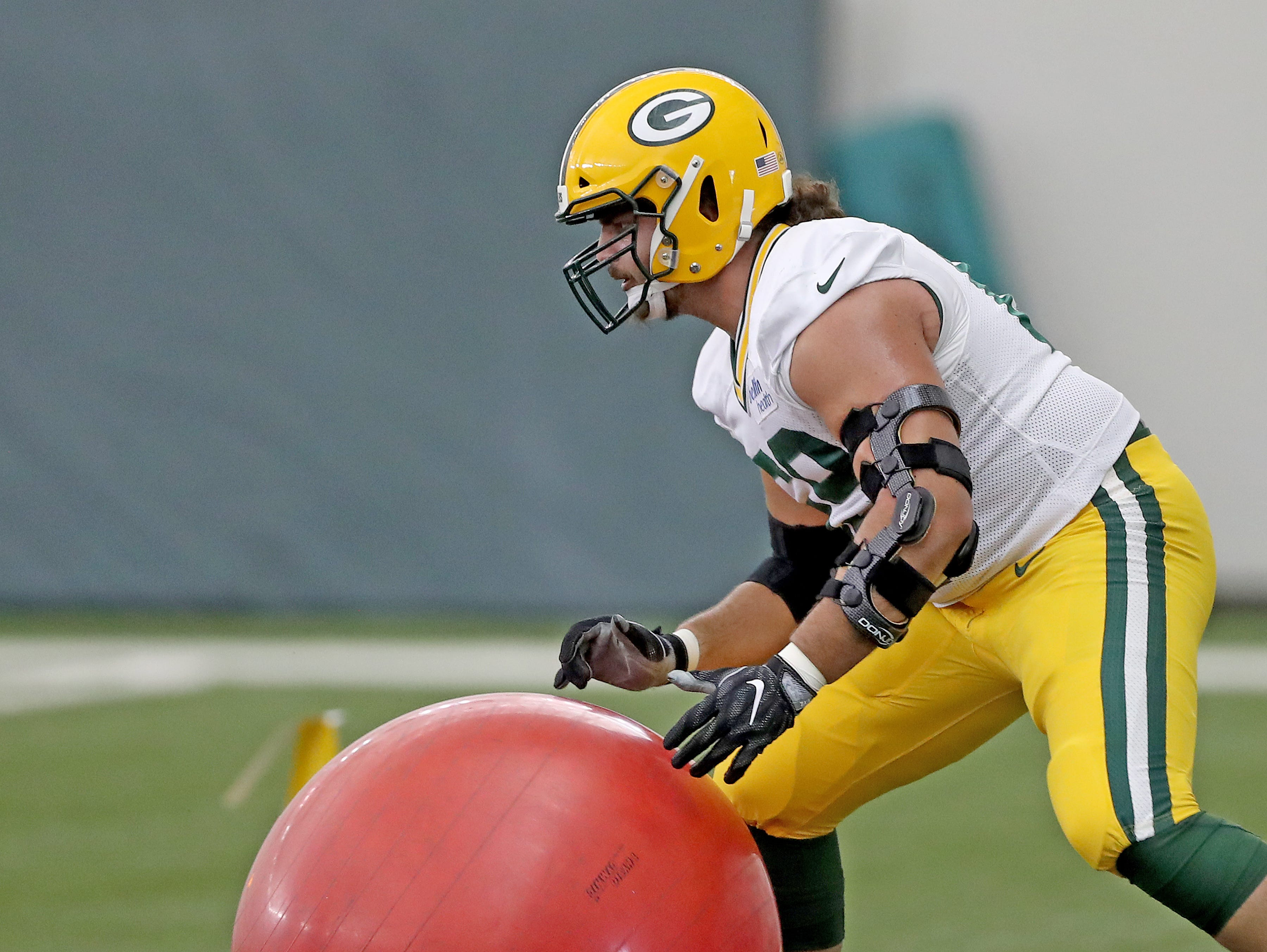 Green Bay Packers offensive tackle David Bakhtiari (69) during Packers practice in the Don Hutson Center Monday, September 3, 2018 in Ashwaubenon, Wis