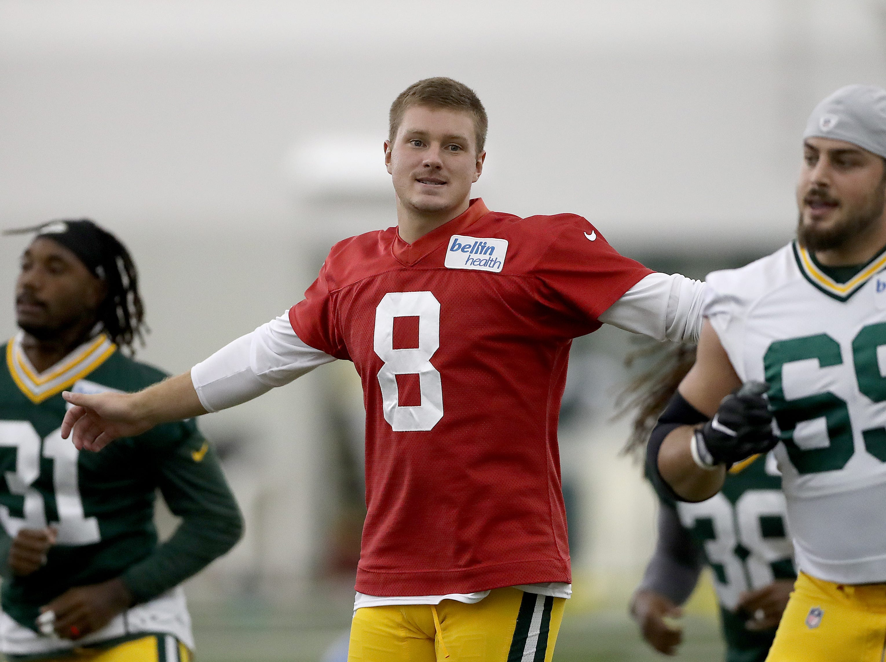 Green Bay Packers quarterback Tim Boyle (8) during Packers practice in the Don Hutson Center Monday, September 3, 2018 in Ashwaubenon, Wis