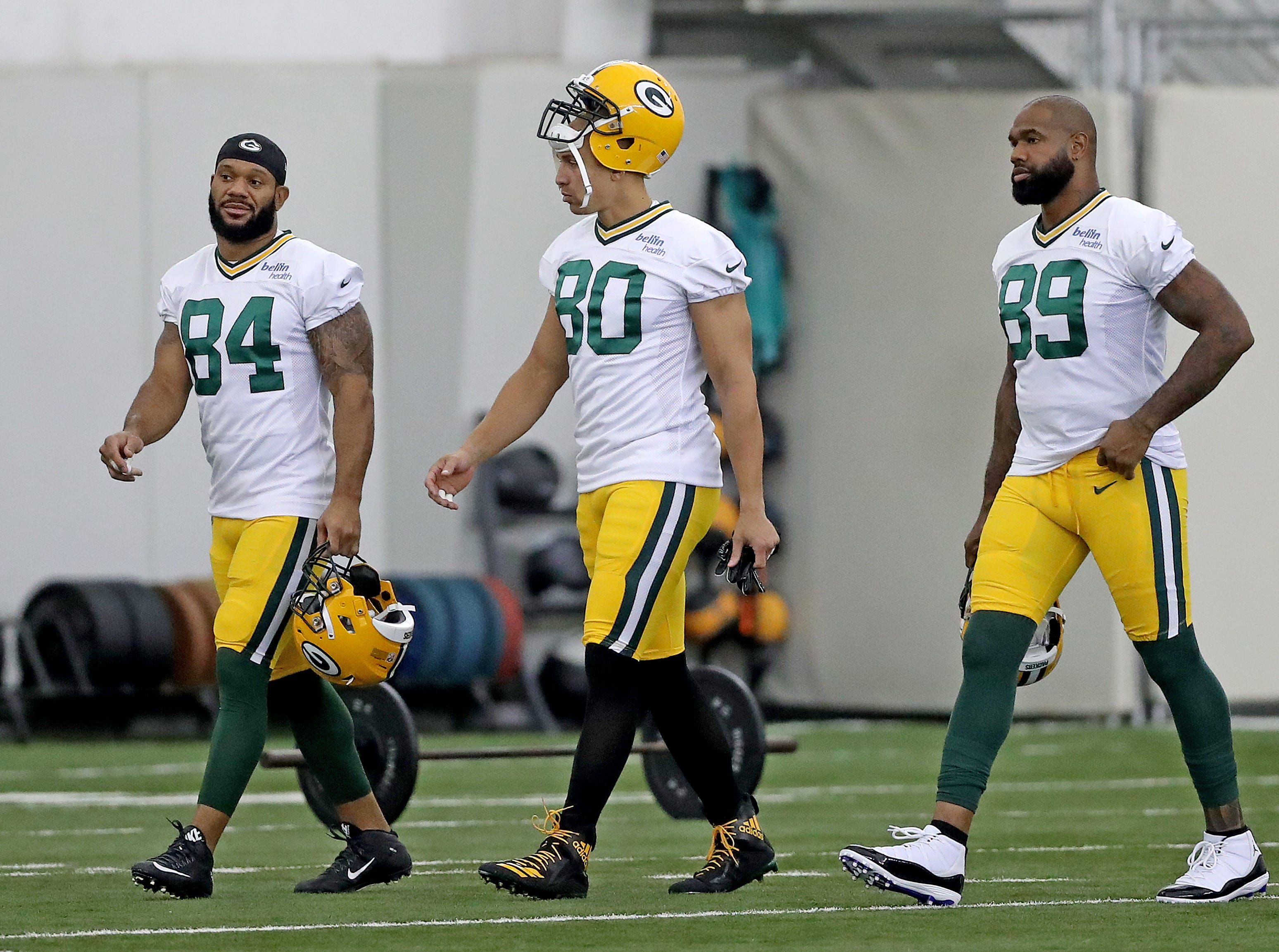Green Bay Packers tight end Lance Kendricks (84), tight end Jimmy Graham (80) and tight end Marcedes Lewis (89) during Packers practice in the Don Hutson Center Monday, September 3, 2018 in Ashwaubenon, Wis