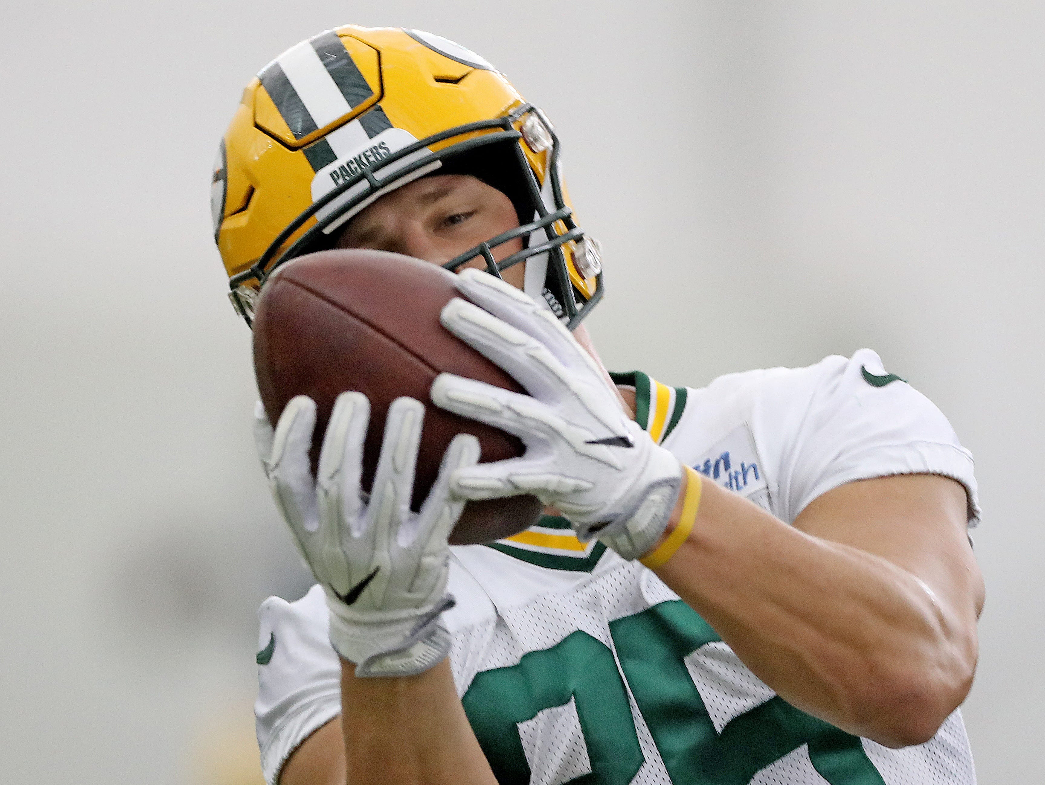 Green Bay Packers wide receiver Robert Tonyan (85) during Packers practice in the Don Hutson Center Monday, September 3, 2018 in Ashwaubenon, Wis