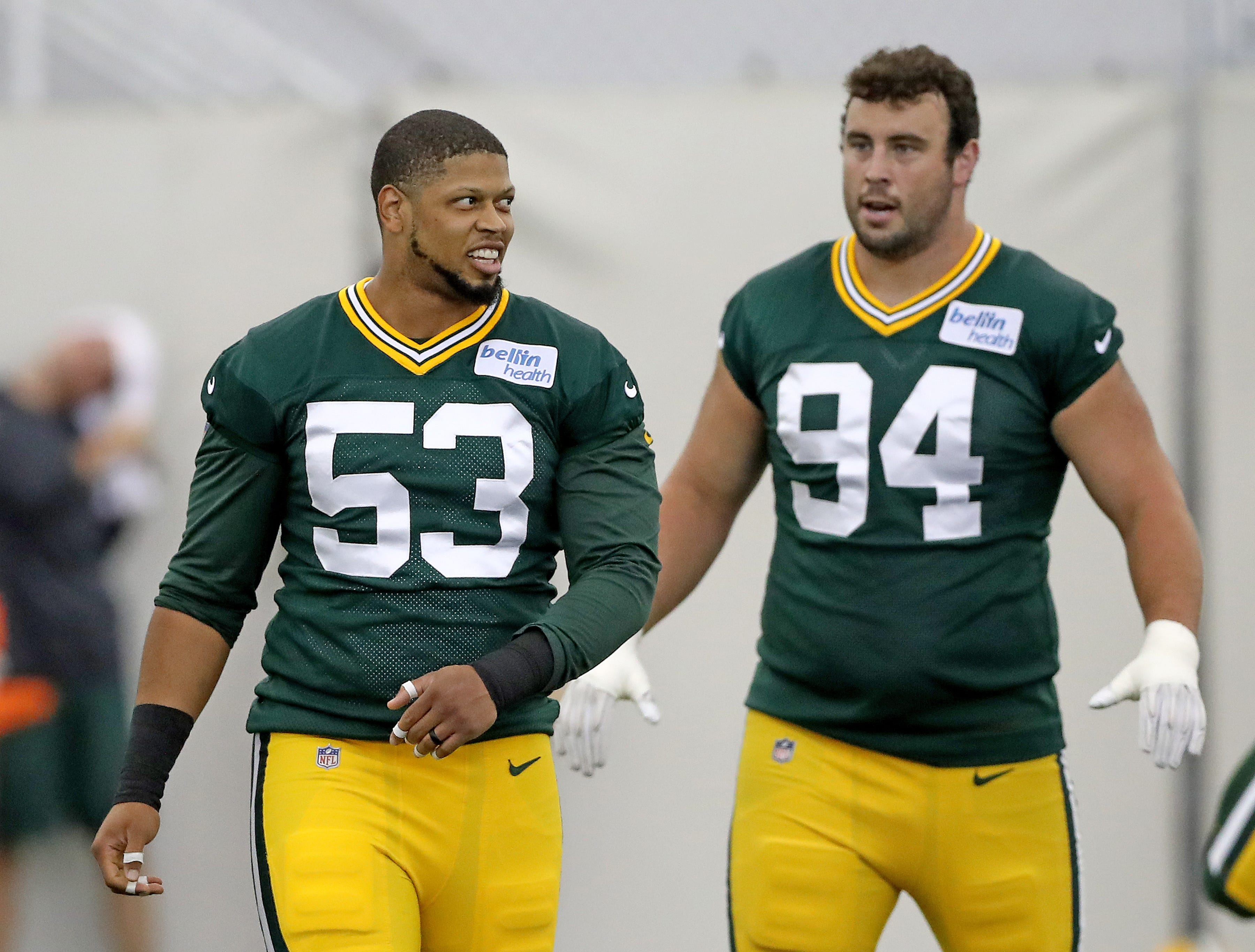 Green Bay Packers linebacker Nick Perry (53), defensive end Dean Lowry (94)during Packers practice in the Don Hutson Center Monday, September 3, 2018 in Ashwaubenon, Wis