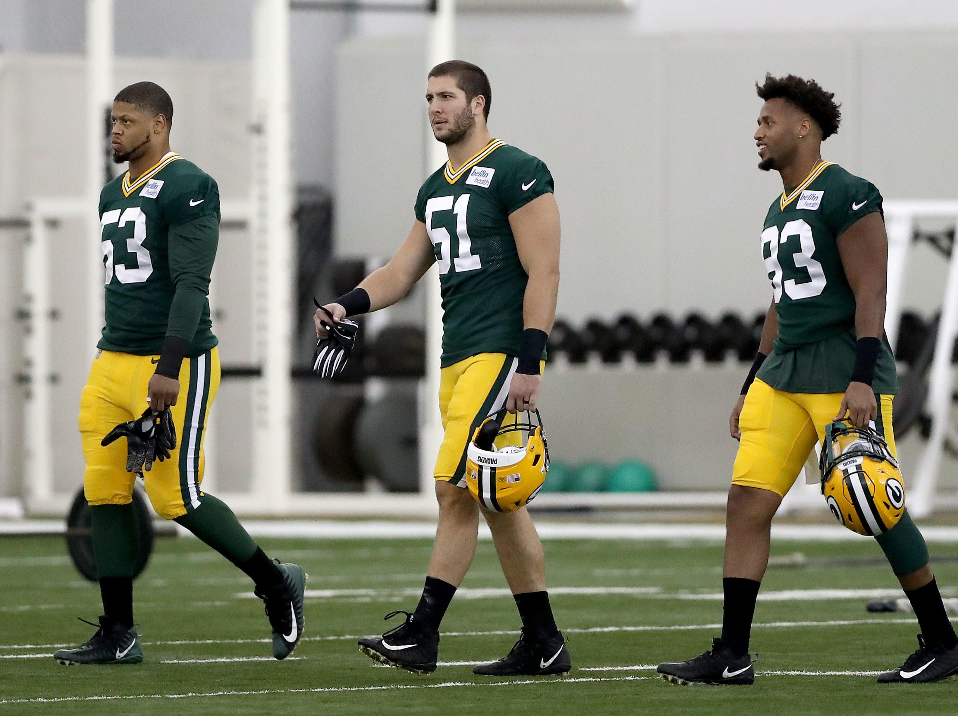 Green Bay Packers linebacker Nick Perry (53), linebacker Kyler Fackrell (51) and linebacker Reggie Gilbert during Packers practice in the Don Hutson Center Monday, September 3, 2018 in Ashwaubenon, Wis
