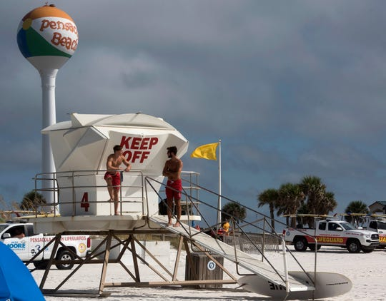 Pensacola Beach Lifeguards keeps an eye on the weather conditions this Labor Day, Sept. 3, 2018.