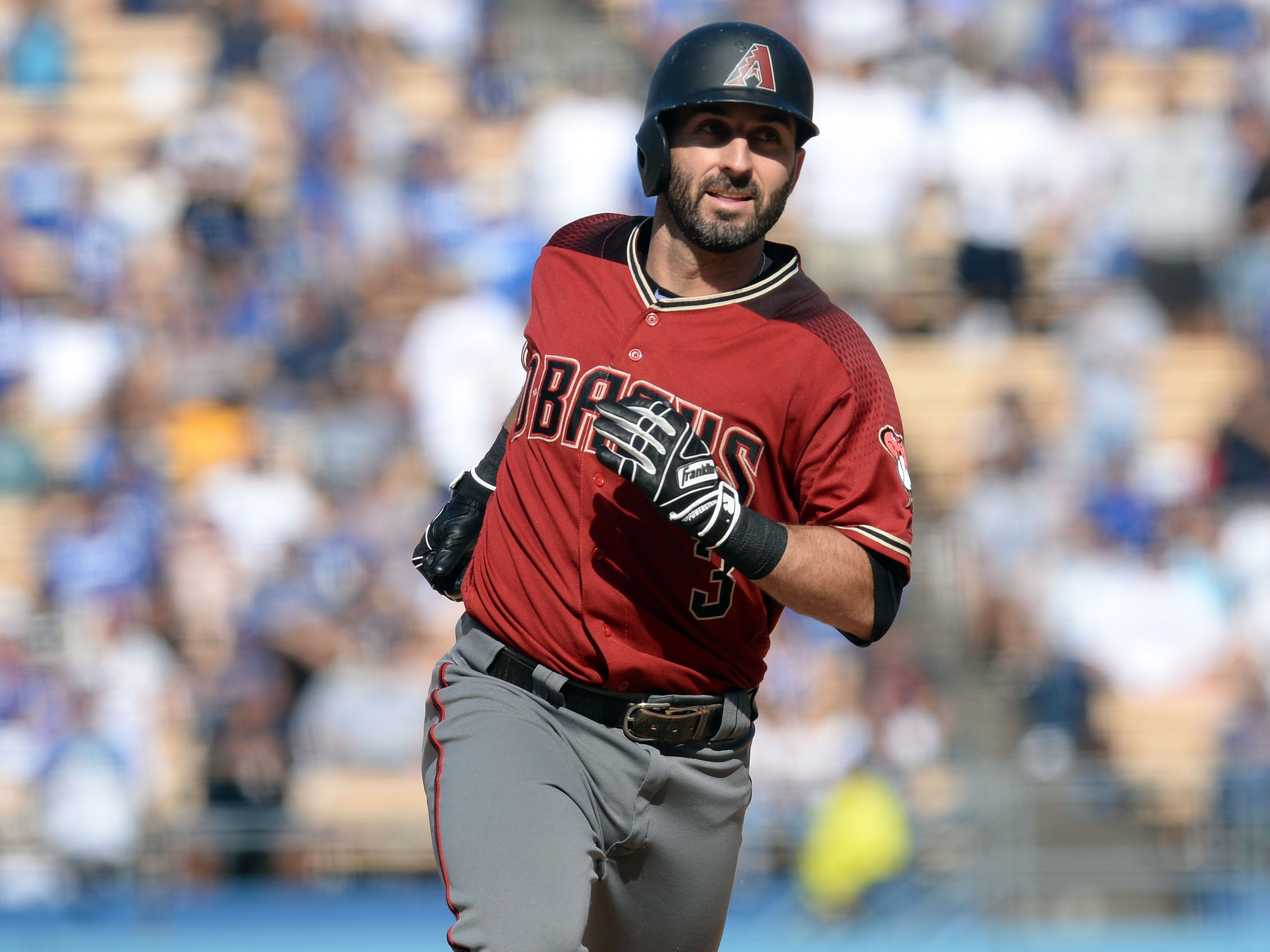 September 2, 2018; Los Angeles, CA, USA; Arizona Diamondbacks second baseman Daniel Descalso (3) rounds the bases after hitting a solo home run against the Los Angeles Dodgers in the ninth inning at Dodger Stadium. Mandatory Credit: Gary A. Vasquez-USA TODAY Sports