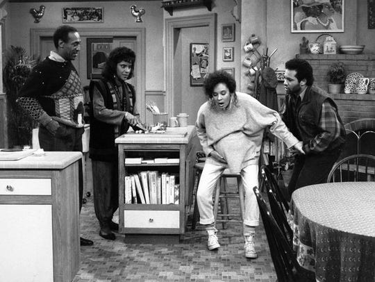 "Bill Cosby (from left), Phylicia Rashad, Sabrina Le Beauf and Geoffrey Owens on a 1988 episode of ""The Cosby Show."""