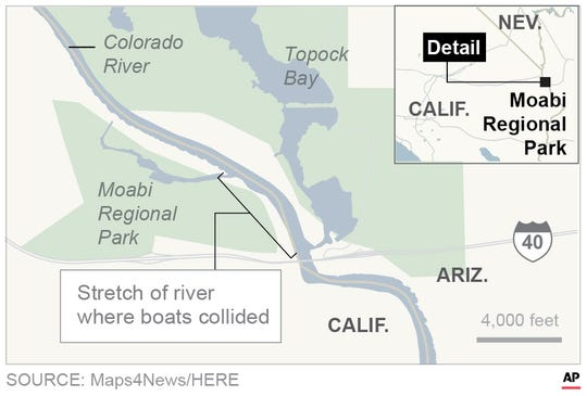 Map locates where boats collided on Colorado River on the night of Sept. 1, 2018.