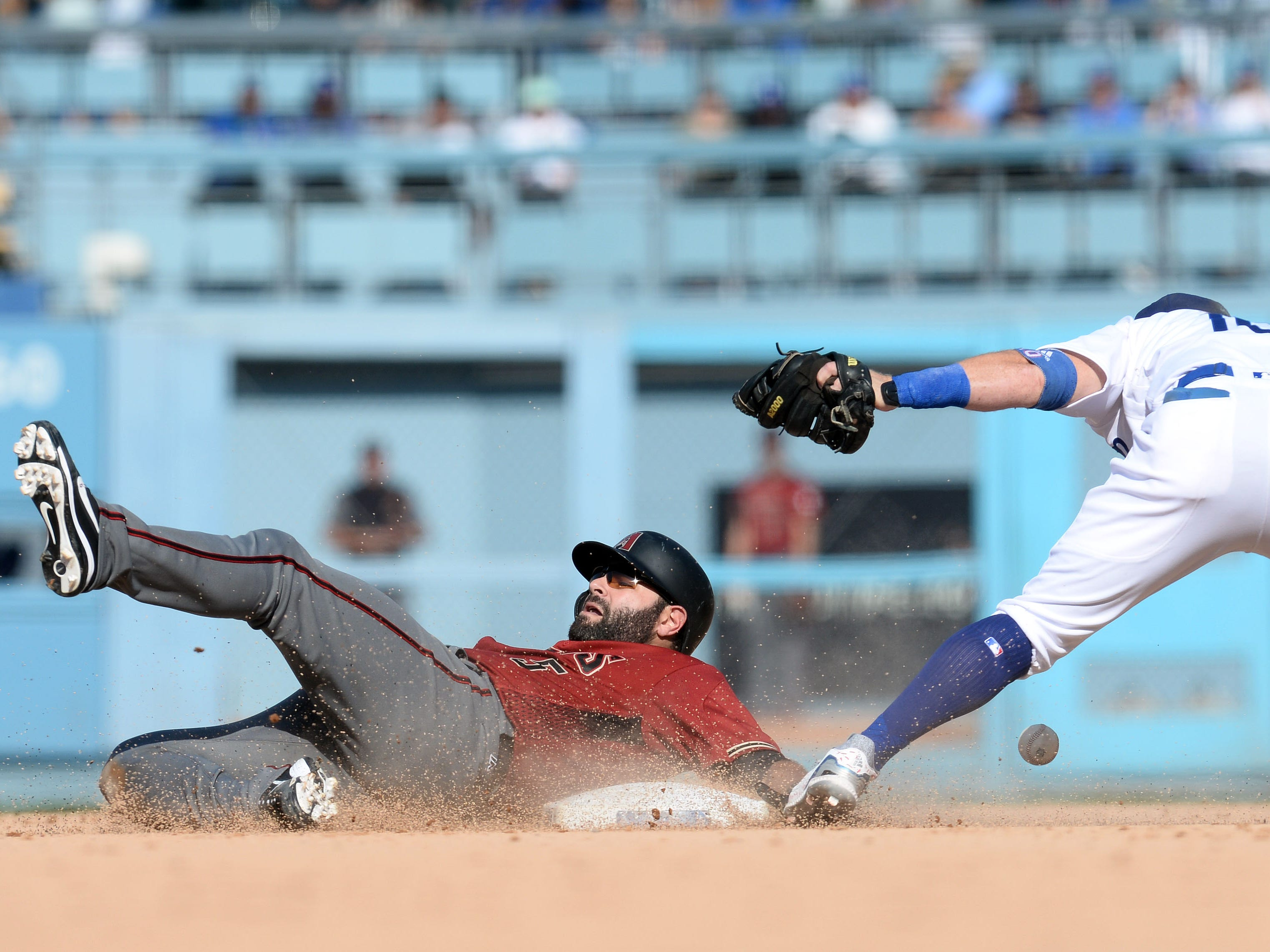 September 2, 2018; Los Angeles, CA, USA; Arizona Diamondbacks catcher Alex Avila (5) reaches second on a double against the Los Angeles Dodgers in the ninth inning at Dodger Stadium. Mandatory Credit: Gary A. Vasquez-USA TODAY Sports