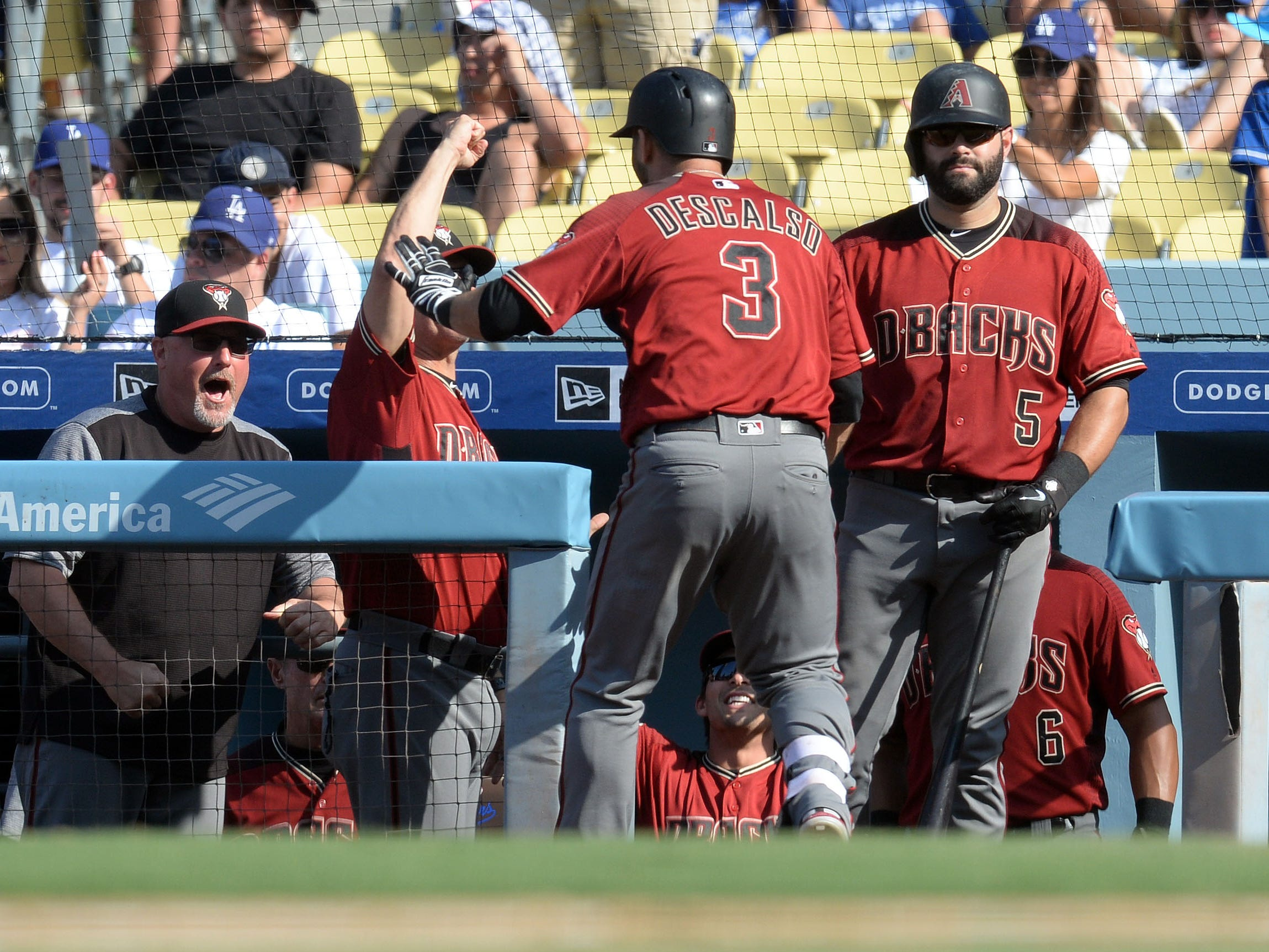 September 2, 2018; Los Angeles, CA, USA; Arizona Diamondbacks second baseman Daniel Descalso (3) is greeted by manager Torey Lovullo (17) after hitting a solo home run against the Los Angeles Dodgers in the ninth inning at Dodger Stadium. Mandatory Credit: Gary A. Vasquez-USA TODAY Sports