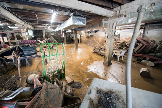 The ground floor of the general store on Monday after four feet of water receded at the Ma & Pa Railroad Heritage Village in Muddy Creek forks.