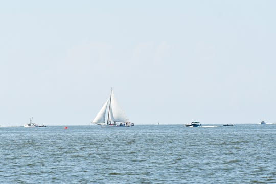 A skipjack sails on the Chesapeake Bay on Monday, Sept. 3, 2018.