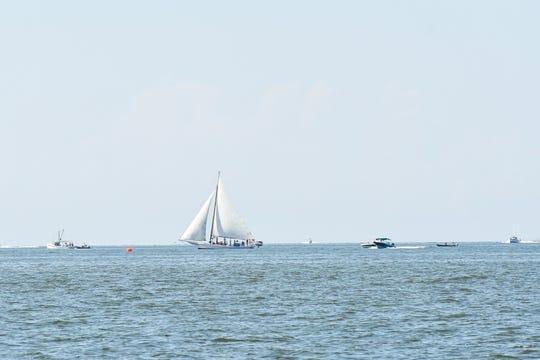 A skipjack sails on the Chesapeake Bay on Monday, Sept. 3, 2018.