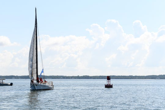 A boat sails in the Chesapeake Bay on Monday, Sept. 3, 2019. The six states in the bay watershed are more than halfway through a regional plan to improve water quality in the historically troubled ecosystem.