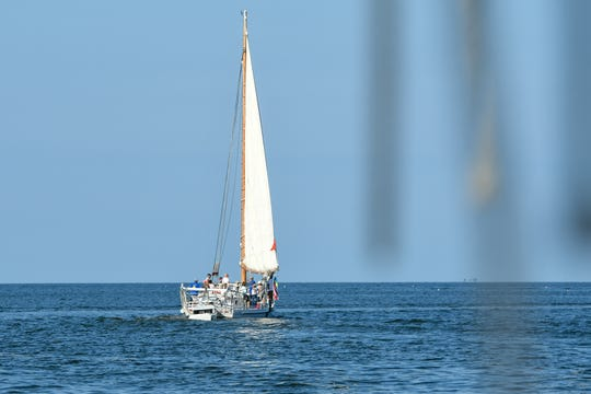A sailboat on the Chesapeake bay on Monday, Sept 3, 2018.
