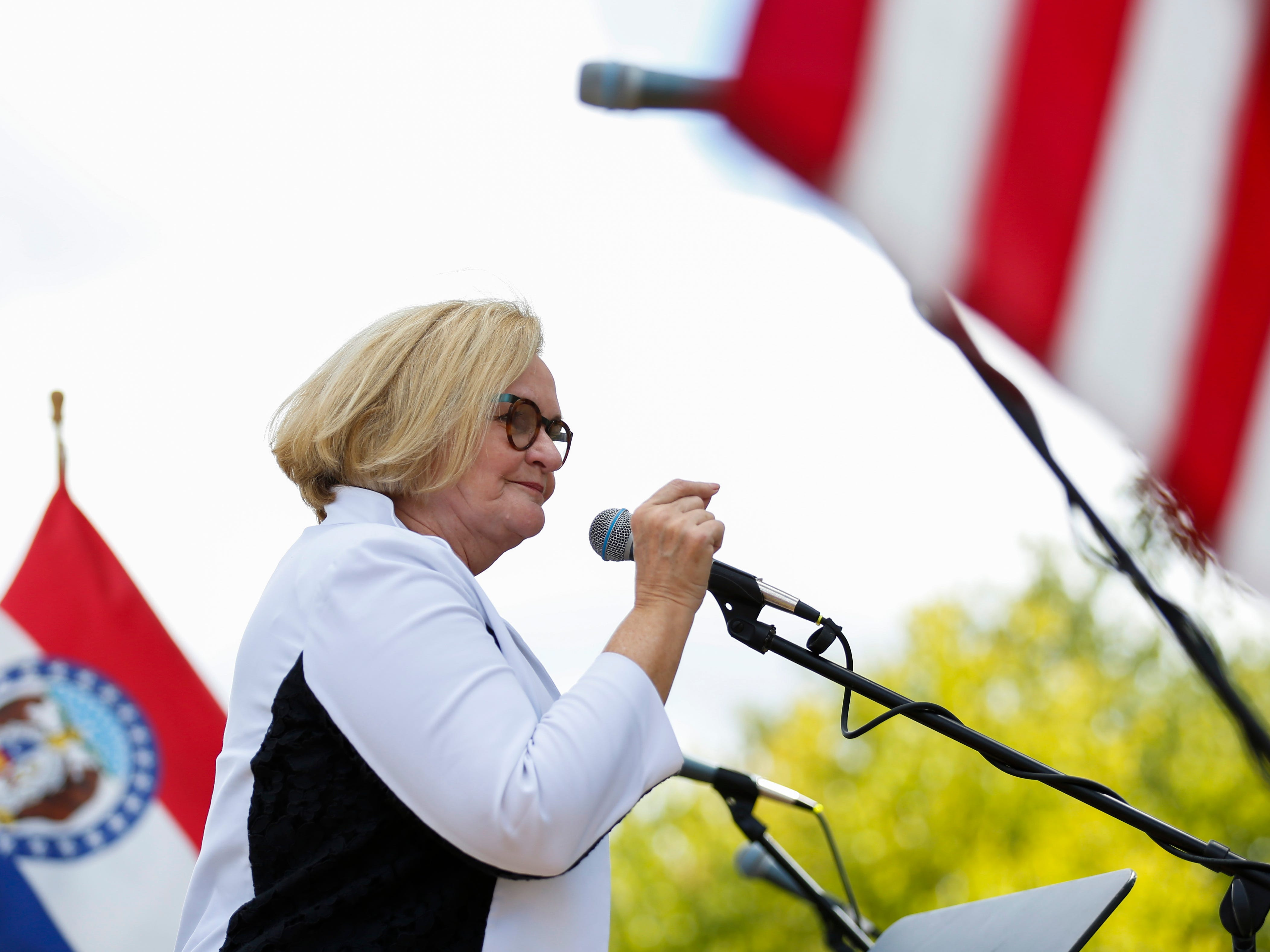 "Missouri, Sen. Claire McCaskill speaks at the 2018 Labor Day Picnic on Monday, Sept. 3, 2018. McCaskill urged pro-union supporters to give her a third term in Congress and celebrating the ""right-to-work"" measure failed."