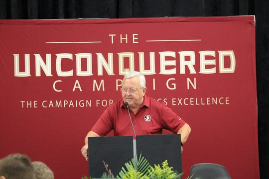 The voice of the Seminoles Gene Deckerhoff at the Unconquered Campaign announcement.