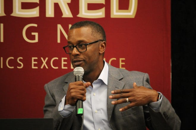 FSU coach Willie Taggart speaks at the unveiling of the Unconquered Campaign