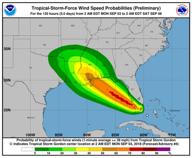 Wind map possibilities for Tropical Storm Gordon.